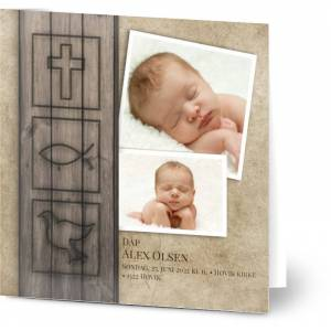 Optimalprint Christening invitations, 2 bilder, symboler, tre, gutt, brun, kreativ, kvadratisk, brettet, Optimalprint