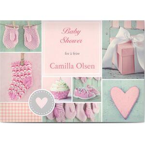 Optimalprint Babyshower invitasjoner, babyselskap, muffins, votter, pike, rosa, A5, flatt, Optimalprint