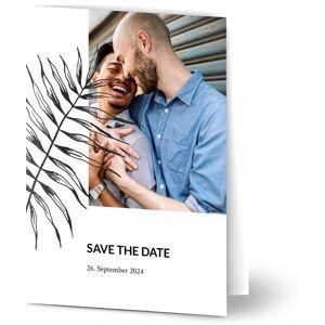 Optimalprint Save the Date, 2 bilder, løv, hannkjønn, hvit, A6, brettet, Optimalprint