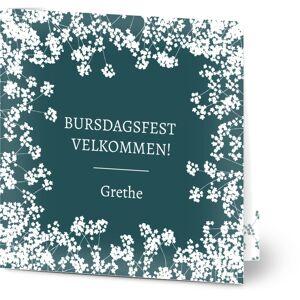 Optimalprint Bursdagsinvitasjoner 80 årsdag, 30, 40, 50, blomster, blå, grønn, klassisk, kvadratisk, brettet, Optimalprint