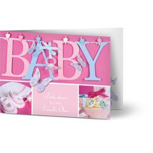 Optimalprint Babyshower invitasjoner, babyselskap, sommerfugler, sko, pike, rosa, fotografisk, A6, brettet, Optimalprint