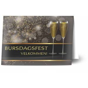 Optimalprint Bursdagsinvitasjoner Festdekor, bursdag 18, champagne, kopper, unisex, gutt, pike, brun, klassisk, theme card, A6, brettet, Optimalprint