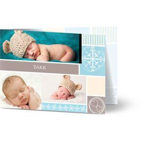 Optimalprint Takkekort baby Striper og hjerter, 3 bilder, portrett, gutt, blå, A6, brettet, Optimalprint