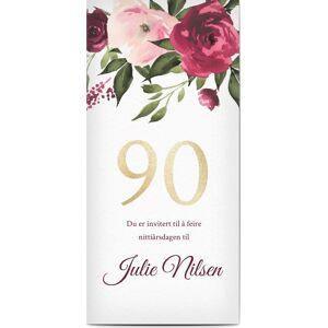 Optimalprint Bursdagsinnbydelse, 90, blomster, handwritten, foto, vannfarge, burgundy, bursdag, panorama DL, flatt, Optimalprint
