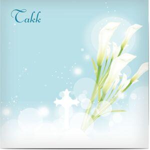 Optimalprint Takkekort begravelse, calalilje, card, kondolere, lilje, sky, stjerner, takke, deg, blå, grønn, klassisk, kvadratisk, flatt, Optimalprint