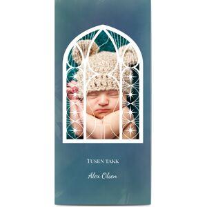 Optimalprint Takkekort dåp, fotokort (1 foto), kirke, vindu, gutt, blå, panorama DL, flatt, Optimalprint