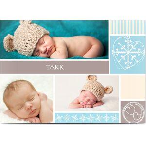 Optimalprint Takkekort baby Striper og hjerter, 3 bilder, portrett, gutt, blå, A6, flatt, Optimalprint