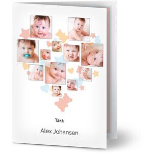 Optimalprint Takkekort baby, 12 bilder (fotocollage), søt, bildestream, stjerner, gutt, blå, oransje, rosa, A6, brettet, Optimalprint