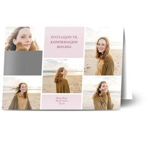 Optimalprint Konfirmasjonskort, 5 bilder (fotocollage), kort, bilder, pike, rosa, A5, brettet, Optimalprint