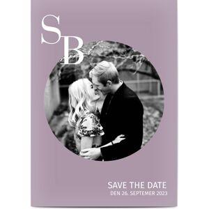 Optimalprint Save the Date, fotokort (1 foto), stor, sirkel, ramme, initialer, brev, runde, blå, fiolett, A6, flatt, Optimalprint