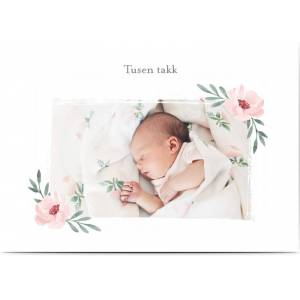 Optimalprint Takkekort dåp, fotokort (1 foto), søt, blomst, blomster, lett, pike, rosa, hvit, A6, flatt, Optimalprint