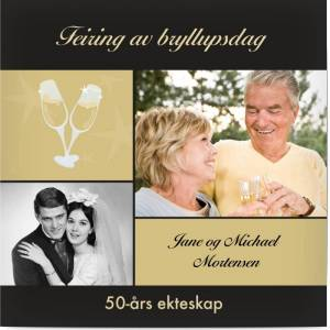 Optimalprint Invitasjon Gullbryllup (50 år), 2 bilder, 50, gullbryllup (50 år), champagne, glas, svart, gull, klassisk, kvadratisk, flatt, Optimalprint