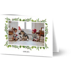 Optimalprint Julekort Holiday Mistletoe, fotokort (1 foto), vannfarge, grønn, klassisk, A6, brettet, Optimalprint