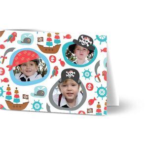 Optimalprint Invitasjon barnebursdag, 3 bilder, anker, søt, nautisk fartøy, papegøye, sjø, skip, gutt, blå, rød, A6, brettet, Optimalprint