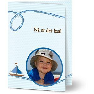 Optimalprint Bursdagsinnbydelse barn, fotokort (1 foto), båt, sjø, transport, gutt, blå, A6, brettet, Optimalprint