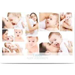 Optimalprint Takkekort baby, 9 bilder (fotocollage), transparent, gutt, A6, flatt, Optimalprint