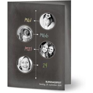 Optimalprint Bursdagsinvitasjoner Krittavle tidslinje, 4 bilder (fotocollage), 60, tidslinje, svart, moderne, theme card, A6, brettet, Optimalprint
