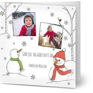 Optimalprint Julekort Glad Vinter Snømenn, 2 bilder, landet, håndtegning, trær, barn, kvadratisk, brettet, Optimalprint