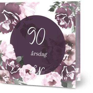 Optimalprint Bursdagsinnbydelse, 90, blomster, vannfarge, vannfarger, rosa, fiolett, hvit, bursdag, moderne, kvadratisk, brettet, Optimalprint
