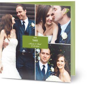 Optimalprint Takkekort til bryllup Prikker med overlappende ramme, 3 bilder, skilt, prikker, ramme, rektangel, grønn, rosa, kvadratisk, brettet, Optimalprint