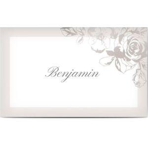 Optimalprint Bordkort, blomster, løv, roser, sølv, bordkort, flatt, Optimalprint