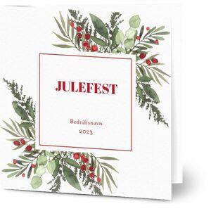 Optimalprint Invitasjoner til bedriftsjulebordet, fotokort (1 foto), bær, julepynt, foliage, illustrasjon, vannfarge, grønn, kvadratisk, brettet, Optimalprint
