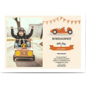 Optimalprint Invitasjon barn, fotokort (1 foto), bil, flagg, girlandre, veteranbiler, kappløp, sløyfe, oransje, årgang, A5, flatt, Optimalprint