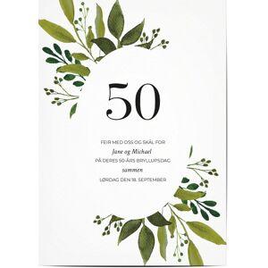 Optimalprint Invitasjon Gullbryllup (50 år), gullbryllup (50 år), bukett, gren, greens, løv, maling, malt, vannfarge, grønn, moderne, A6, flatt, Optimalprint