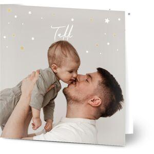 Optimalprint Takkekort baby, fotokort (1 foto), prikker, mønster, lett, stjerne, stjerner, svart, fotografisk, kvadratisk, brettet, Optimalprint