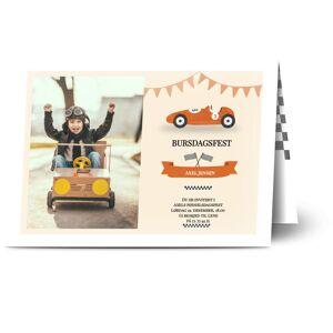Optimalprint Bursdagsinnbydelse barn, fotokort (1 foto), bil, flagg, girlandre, veteranbiler, kappløp, sløyfe, oransje, årgang, A5, brettet, Optimalprint