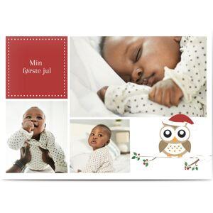 Optimalprint Julekort, 2 bilder, ugle, vred, rød, barn, A6, flatt, Optimalprint