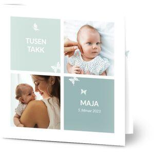 Optimalprint Takkekort baby Babyfoto-collage med sommerfugler, 2 bilder, sommerfugler, ramme, pike, blå, rosa, kvadratisk, brettet, Optimalprint