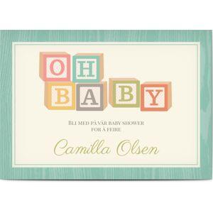 Optimalprint Babyshower invitasjoner, abs, babyselskap, klosser, brev, åh baby, leker, tre, gutt, pike, grønn, kreativ, A5, flatt, Optimalprint
