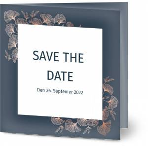 Optimalprint Save the Date, fotokort (1 foto), blomster, løv, bryllup, blå, kvadratisk, brettet, Optimalprint