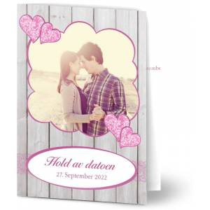 Optimalprint Save the Date kort, fotokort (1 foto), illustrasjon, tre, grå, rosa, A6, brettet, Optimalprint