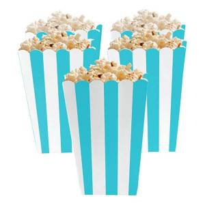 Amscan Popcornbägare Turkos Randiga - 5-pack