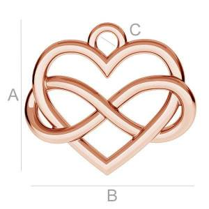 Berlock 925 Silver 18K Rose Gold - Infinity med Hjärta