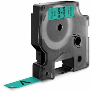 Dymo Standard D1 Teip 12mm Svart på grønt