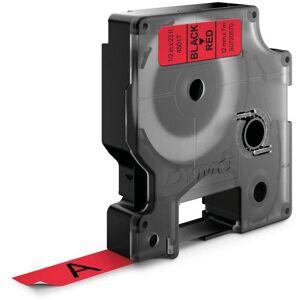 Dymo Standard D1 Teip 12mm Svart på rødt