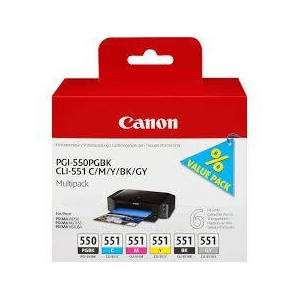 Canon PGI-550/CLI-551 blekkpatron combo pack 6 stk - 6496B005 Original - BK/C/M/Y/BK/GY 47 ml
