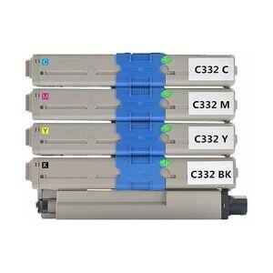 Oki C332/MC363 combo pack 4 stk Lasertoner - kompatibel - BK/C/M/Y 12500 sider