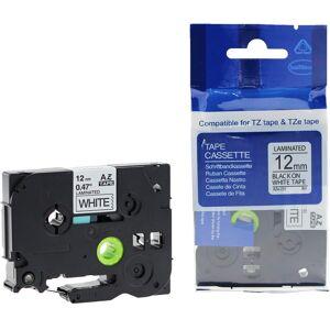 Yaha Brother P-Touch 1280 CB Yaha P-Touch Tape Sort på Hvit 12mm (8m), erstatter Brother TZE-231 YT-TZE231 (Kan sendes i brev)