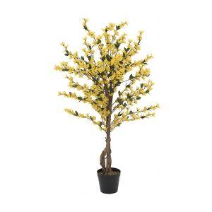 Europalms Forsythia tree with 3 trunks, artificial plant, yell kufferter trunker