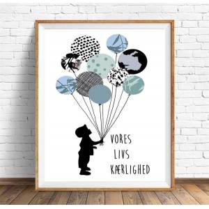 Mit Dejlige Hjem - Plakat A4 - Dreng - Ballon