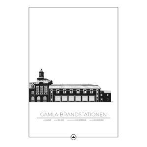 Sverigemotiv Gamla Brandstationen Kalmar Poster 50x70cm