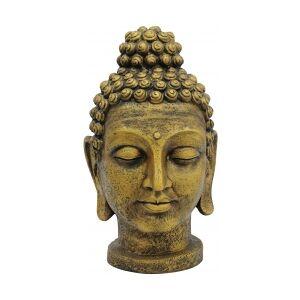 Antique Europalms Head of Buddha, antique-gold, 75cm buddhahodet antikkgull antikk gull