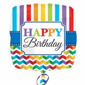 Amscan Bright Happy Birthday Chevron & Stripe Design plassen ballong Flerfarget One Size