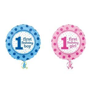 Amscan første bursdag prikker folie ballong Rosa One Size