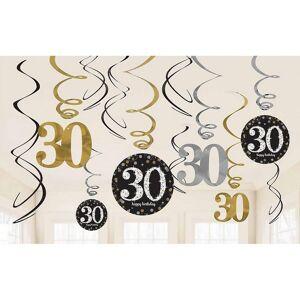 Amscan glitrende gull feiring 30-årsdag hengende virvel dekorasjoner - 12 pakke One Size