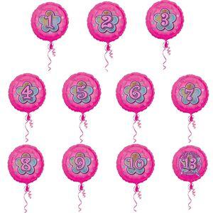 Amscan 18 tommers Floral Glitter Design sirkulær folie bursdag alder ballong Rosa 1
